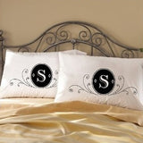 Two (2) Fancy deluxe Monogram bedding pillow case cover modern unique gift WHITE ornate initials crest black room guest home decor bedroom