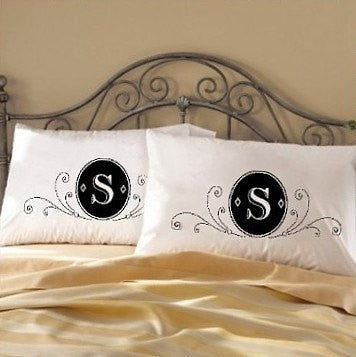 Two 2 fancy deluxe monogram bedding pillow case cover for Crest home designs bedding