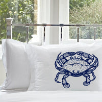 Navy Blue Crab Pillowcase Nautical decor boating crab