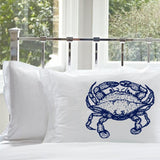 Navy Blue Crab Pillowcase White Nautical Standard Pillowcase pillow cover case