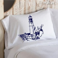 Navy Blue Lighthouse Nautical Pillowcase