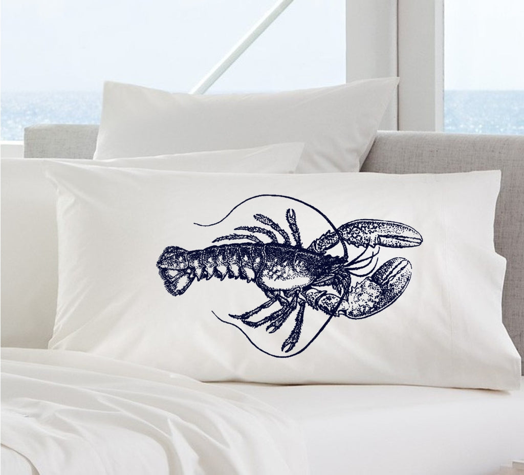 Navy Blue Lobster White Nautical Pillowcase pillow cover