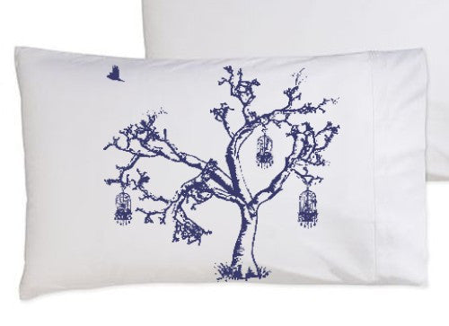 Navy Blue Birds Of Freedom Tree Birdcage Standard Pillowcase