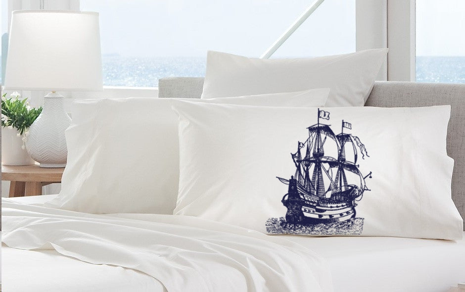 Navy Blue Nautical Tall Clipper Ship Sail Boat Pillowcases pillow cover