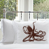 Brown Octopus Ocean Beach Nautical Standard Pillowcase Pillow Cover Case
