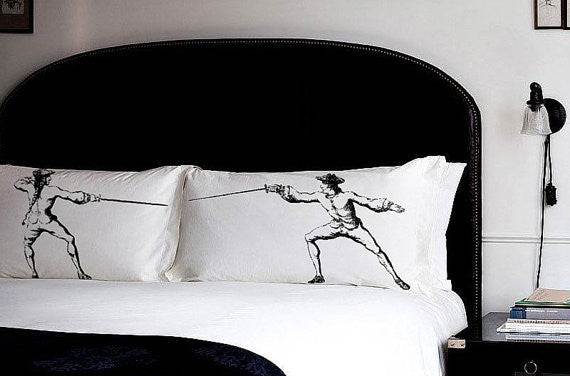 Pillow fighting set of Fencing sword fight pillowcases