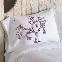 Purple Birds Of Freedom Tree Birdcage Standard Pillowcase