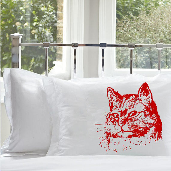 Red Retro Cat Pillowcase pillow cover case bedding kitten bedroom decor
