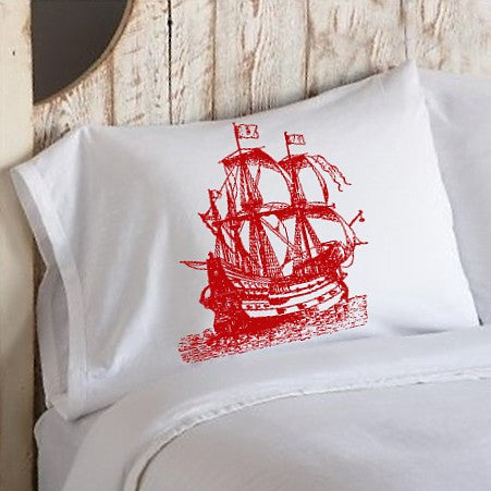 Red Nautical Tall Clipper Ship Sail Boat Pillowcases pillow cover