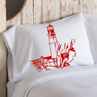 Red Light house Nautical White Pillowcase pillow cover lighthouse coas