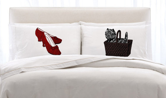 RUBY RED Slippers & Toto Dog NEW pillowcase pair set the pillow cover case bedroom decor
