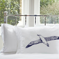 Navy Blue Sea Gull pillowcases bird Seagull White Nautical Pillowcase pillow cover ocean sea