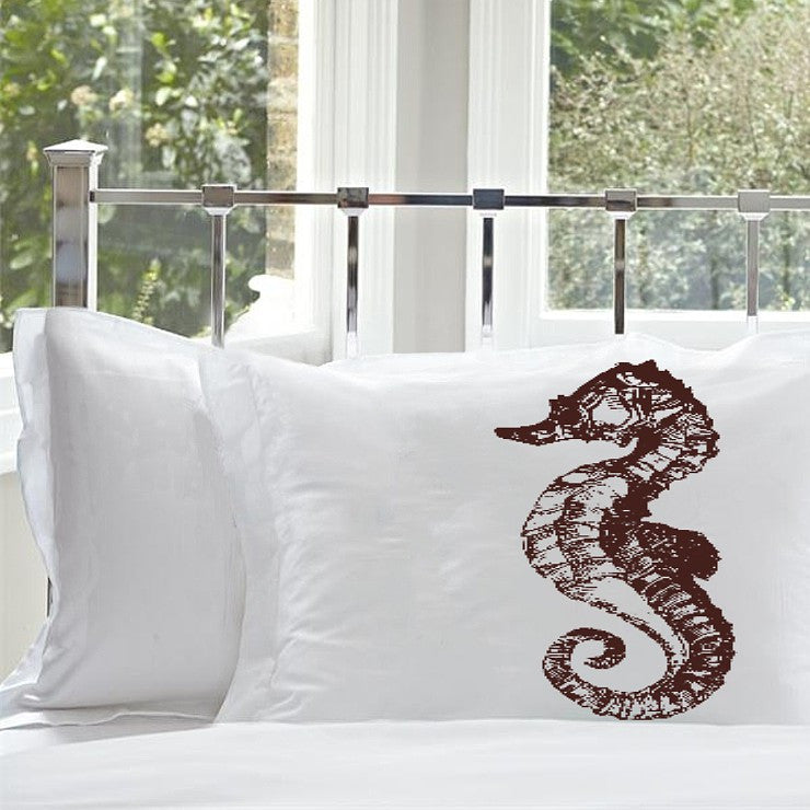 Brown Sea Horse Ocean Beach Nautical Standard Pillowcase