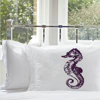 Purple Sea Horse White Nautical Pillowcase cover pillow case