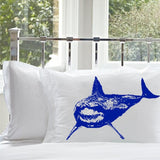 Great White Shark Pillowcase cover nautical bedding print color Blue
