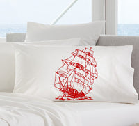 Red Nautical Tall Clipper Ship Sailboat Pillowcase Pillow Cover
