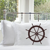 Brown Ships Wheel Nautial White Standard Pillowcase pillow cover