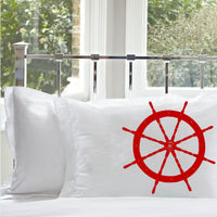 Red Ships Wheel White Nautical Pillowcase pillow cover bedding