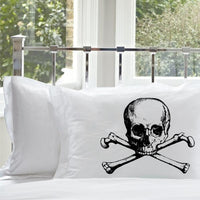 Black Skull and Crossbones pirate Nautical Ship's theme Pillowcase