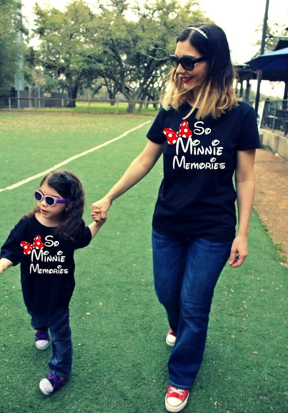 82a5572a6f3af 2 Shirts- disney fan Mommy and Me Minnie Shirts, family matching, Minnie  Me, matching mother daughter outfit mickey mouse SO MINNIE MEMORIES