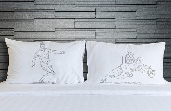 Two Soccer Pillowcases Player vs Goalie football pillowcase set after the shot