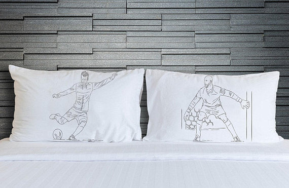 Two Soccer Pillowcases Player vs Goalie football pillowcase set at the shot