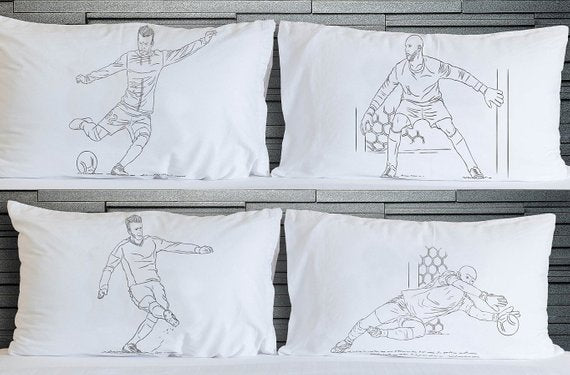 Four Soccer Pillowcases Player vs Goalie football pillowcase set after the shot Pillow fight