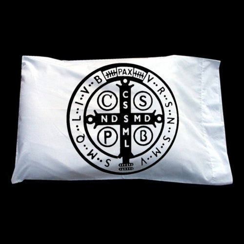 St. Saint Benedict Catholic Medal back side pillowcase pillow cover case
