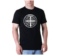 St. Benedict medal Mens shirt Catholic tee Saint Tshirt black S M L XL