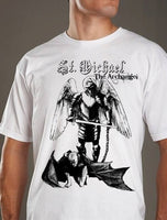 St. Michael the Archangel defeats satan devil AWESOME Mens shirt Catholic tee Saint feast Christian sword knight Tshirt black white S M L XL