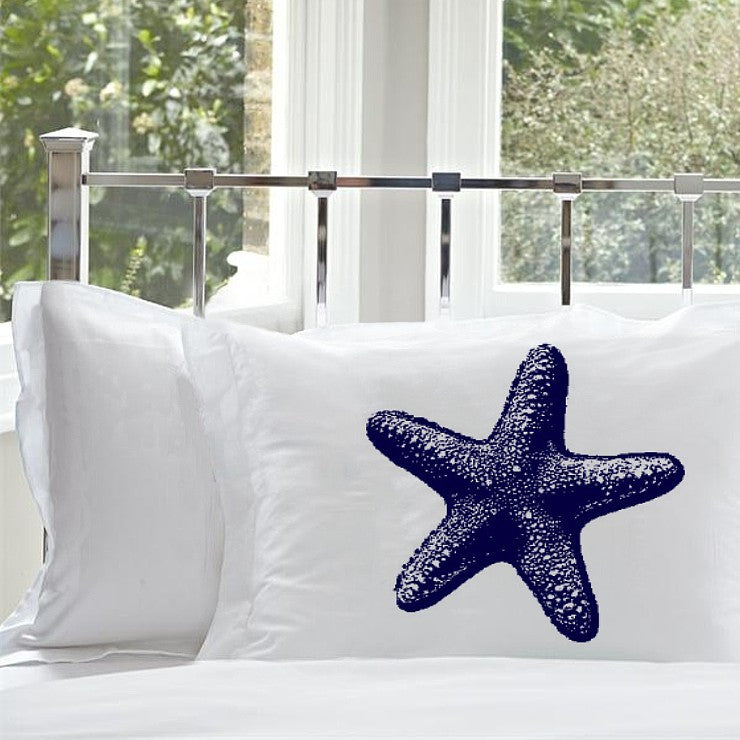 Navy Blue Starfish pillowcase Star Fish pillowcase Nautical Pillowcase White Pillow cover