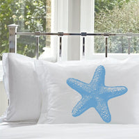 Light Peacock Blue Starfish White Nautical Pillowcases standard size pillow covers
