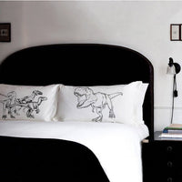 Pillow Fight Set of Fighting DINOSAURS Trex vs Raptors pillowcases