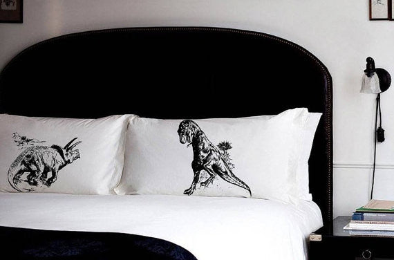 Trex vs Triceratops pillowcases