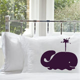 Purple Spouting Whale Nautical Pillowcase cover nautical bedding