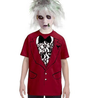 Funny BEETLEJUICE style wedding boy's child costume shirt tuxedo xs s m l xl Movie striped beetle juice child suit outfit tshirt boy tux NEW