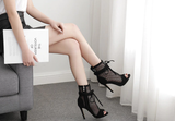 Peep Toe Lace Up See Through Mesh Thin High Heeled Zipper Ankle Boots Sandals