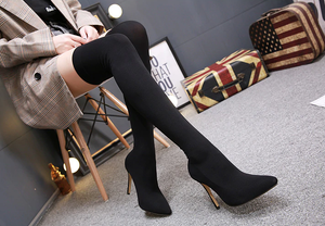 Pointed Toe Stretch Fabric Over-the-Knee Heel Thigh High Long Boots