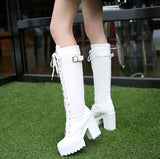 Leather Round Toe Buckle Lace Up Square Heel Biker Boots