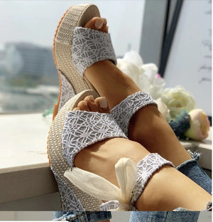 Lace Bowknot Strap Platform High Heel Wedge Sandal