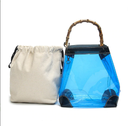 Jelly Transparent Open Type Bamboo Handle Handbag