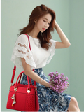 PU Leather Knitting Tassel Tote Top Handle Zipper Handbag