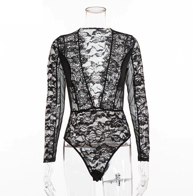 Deep V Neck Patchwork Mesh Long Sleeve Bodysuit