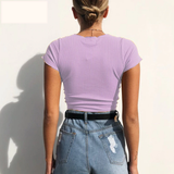 Drawstring Tie Up Front V-Neck Slim Fit Ribbed Crop Top