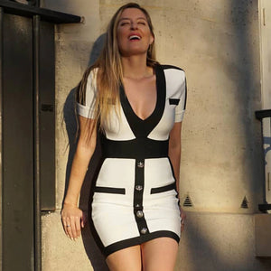 Patchwork V-Neck Short Sleeve Bodycon Dress