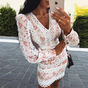 Floral Print Lace Trim Bodycon Dress