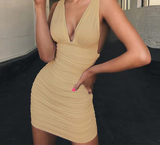 Off Shoulder Mini Backless Ruched Wrap Bodycon Dress