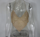 Triangle Diamonds Glitter Crystal Halter Bralette Tank Top