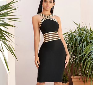 Halter Lace Bandage Hollow Out High Waist Bodycon Dress