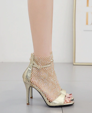 Rhinestones Fishnet Mesh Peep Toe Serpentine Ankle Boots Sandals